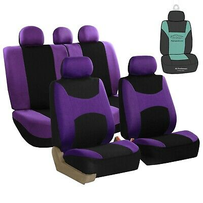 Purple Car Seat Covers For Auto SUV Van with Air Freshener