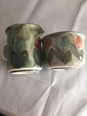 Jersey Pottery Small Milk Jug And Sugar Bowl Hand Painted  Green Flower Design