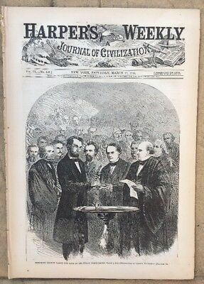 Harper's Weekly March 18 1865 LINCOLN Taking the Oath at his Second Inauguration