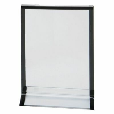 "Acrylic Sign Holder Clear With Striped-Edge Frame - 4""L x 6""H"