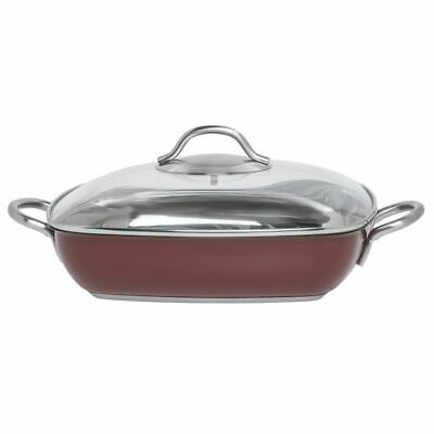 """Red Stainless Steel Casserole Dish With Glass Lid - 11"""" L x 11"""" W x 2 2/5 H"""