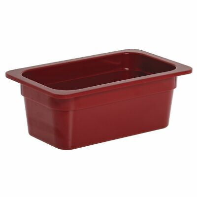 """1/4 Size Cold Food Pan Red Melamine - 6 3/8 L x 10 7/8 W x 4"""" H"""
