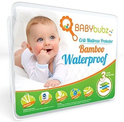 Bamboo Crib Mattress Protector - Waterproof Baby Pee Pad Cover - Soft, Fitted,