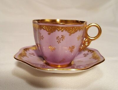 Antique bone china Coalport lavender and gilt demitasse cup and saucer