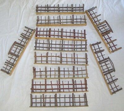 """Antique Germany Wood Twig Christmas Fence 11 17"""" Pieces /3 Gates /box Label"""