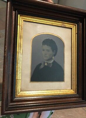 Antique Large Full Plate Tintype Victorian Woman Gold Deep Walnut Wood Frame