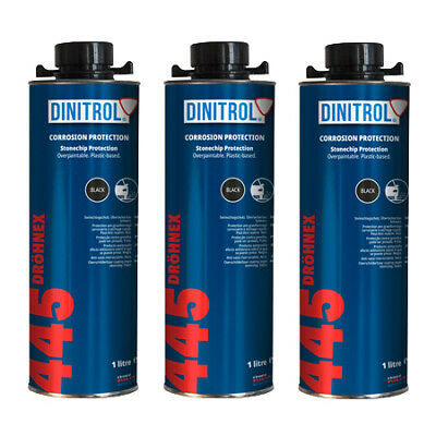 3 x DINITROL 445 BLACK STONE CHIP RUST PROOFING 1 LITRE CAN WHEEL ARCHES