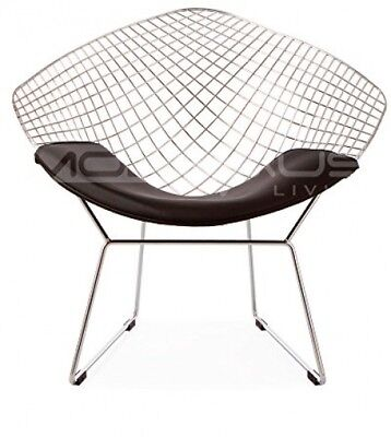 ModHaus Mid Century Modern Bertoia Style Chrome Diamond Accent Chair with Black