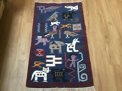 Hand Woven Peruvian Wall Art Or Rug In Blues With Animals, Birds, And Man