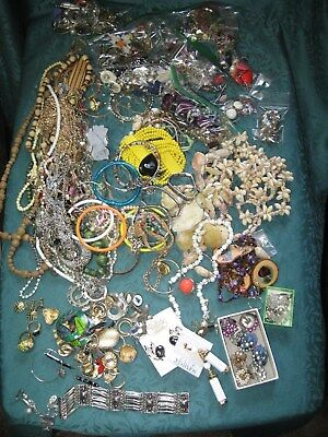 Large Vintage - Now JUNK JEWELRY Lot Estate Harvest Craft Untested 7 lbs