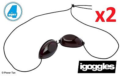 iGoggles - 2 Pairs for Sunbed/Sun Shower Tanning UVA & UVB Eyewear Protection
