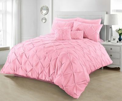 Pintuck Duvet Cover Set Pillowcase Pink Pleated Single Double King Super King