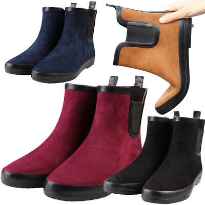 New Womens Ladies Flat Suede Wellies Wellington Chelsea Ankle Boots Rain Shoes
