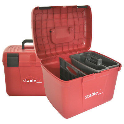 Stable Kit Tack And Unisex Horse Care Grooming Box - Scarlet/black One Size