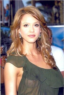 Jessica Alba - In Green See-Thru Dress !!! Right Breast Showing !!