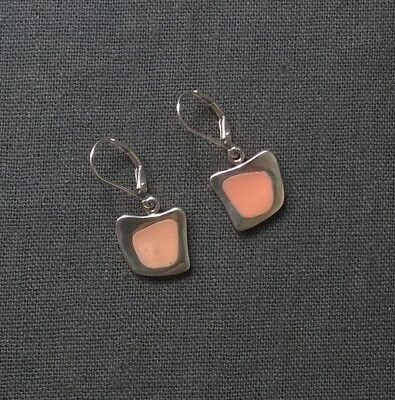 Sterling Silver Vintage Colour Enamel Leverback Earrings Solid 925