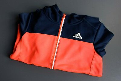 ADIDAS TRAININGSJACKE SPORTJACKE Blau + Neon Orange für Jungs US 6 wie Gr. 122