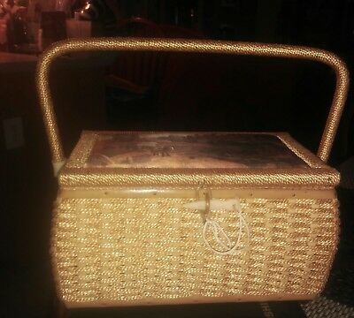 Vtg. Wicker Sewing Basket with Handle, Pin Cushion on Lid, Picture on Top ~ Used