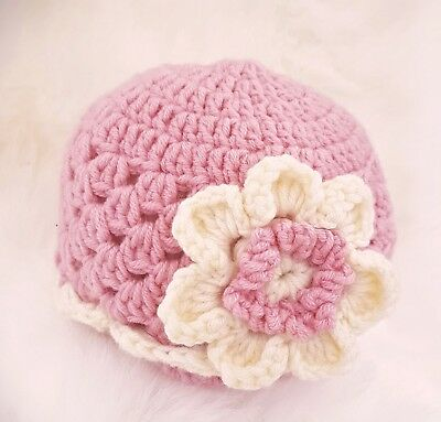 HAND CROCHETED PREEMIE ANGEL BABY GIRL HAT pink merino wool vintage knit beanie