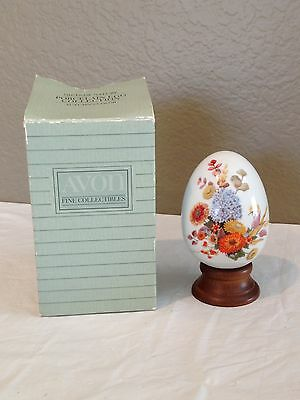 Vintage Avon Porcelain Egg With Wood Stand And Original Box-1987-Autumn