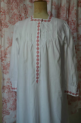 Vintage French pure cotton night dress, red passementerie/trim