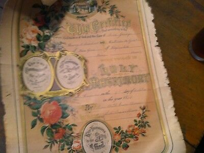 aa-12 OLD ANTIQUE MARRIAGE CERTIFICATE 1892