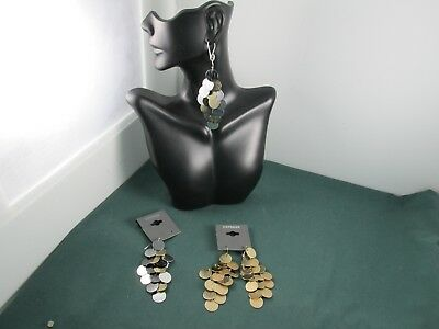 2 Pair Silver Gold & Black Dangle Disc Earrings from EXPRESS  Both NEW on Cards