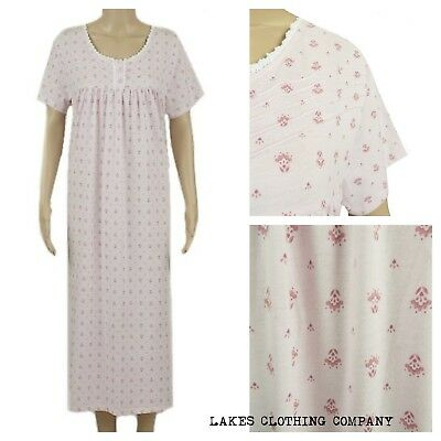 M&S Nightdress Nightie Ladies Pink Floral Cotton Knee Length Short Sleeve 8-22