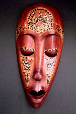 Hand Carved Mother Pearl African Mask Tribal Ethnic Mahogany Long Mask Indonesia