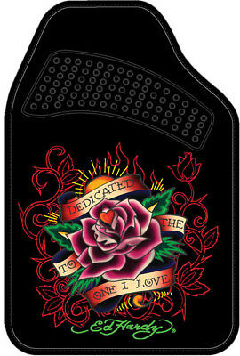 Ed Hardy Dedicated To The One I Love Floor Mats 2-Pc Set Black Carpet Brand New