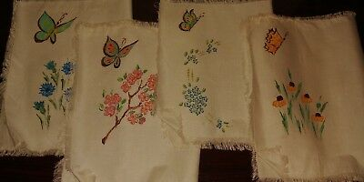 Vintage Handpainted White Linen Placemats Set of 4