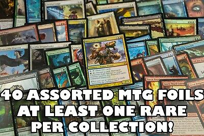 40 ASSORTED FOIL MTG MAGIC: THE GATHERING CARDS With FOIL RARES! ALL FOILS!
