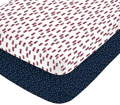 carter's Fire Truck & Stars Fitted Crib Sheets (Set of 2) Fire Fighters