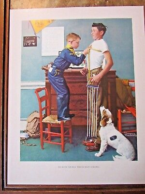 VTG Norman Rockwell BSA Art Print To Keep Myself Physically Strong Boy Scouts