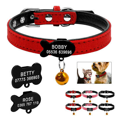 Personalized Dog Collar with Bell Suede Leather ID Engraved for Small Dog XXS-S