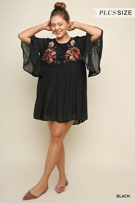 UMGEE Black Floral Embroidered Burnout Detail Shift Dress Plus Size