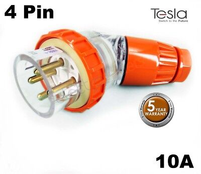 Tesla 10 AMP 3 Phase 4 Pin Round Angled Male Industrial Plug Top