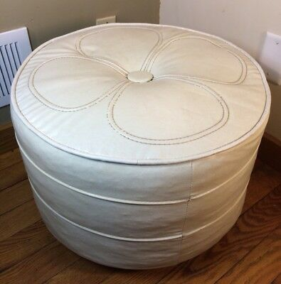 Miraculous Vintage Round Ottoman Mid Century Vinyl Rolling Foot Stool Caraccident5 Cool Chair Designs And Ideas Caraccident5Info