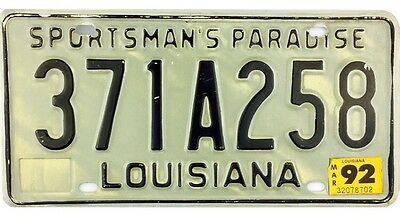1992 Louisiana License Plate #371A258