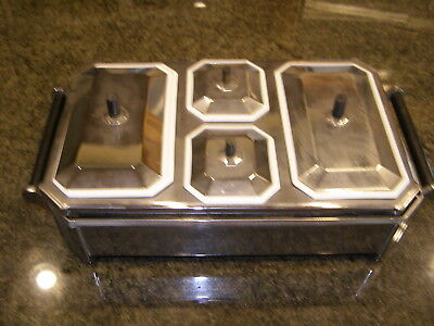 Chase Brass & Copper Rare Art Deco Food Warming Casserole Server Porcelain Onyx