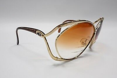 c68e43e15f8 Vintage CHRISTIAN DIOR 2056 Gold Brown Butterfly Sunglasses Frames 8308