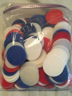 Heavy Duty Poker Chips - Red White and Blue - 100+ Chips