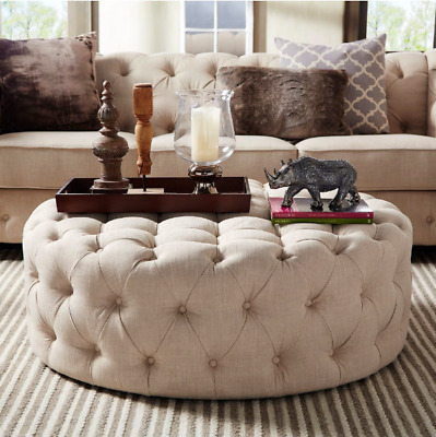 Amazing New Tufted Linen 60 Inch Cocktail Sofa Couch Ottoman Beige Ibusinesslaw Wood Chair Design Ideas Ibusinesslaworg