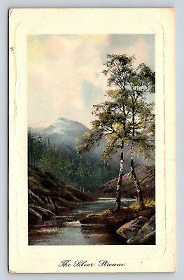 Postcard The Silver Stream Scenic Mountains River Painting Vintage Litho 1908