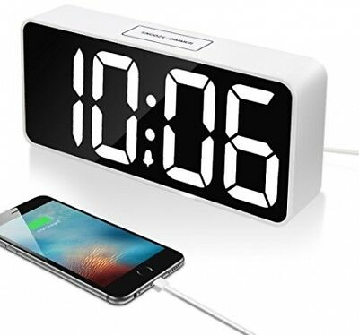 9 Large LED Digital Alarm Clock with USB Port for Phone Charger, Snooze and