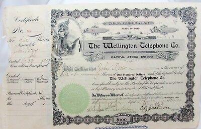 STOCK CERTIFICATE #96 THE OHIO WELLINGTON TELEPHONE COMPANY, 1902 Circulated