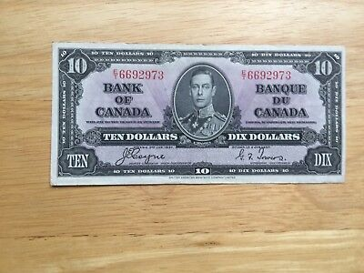 RARE 1937 $10 Canadian Bank notes Coyne/Towers USED Look at all Pictures