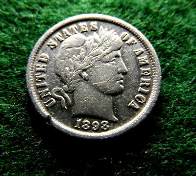 US 1898 Barber Dime Silver Coin