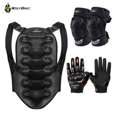 Motorcycle Back Protector Armor Street Guard Brace Knee Pads Support Gear Glove
