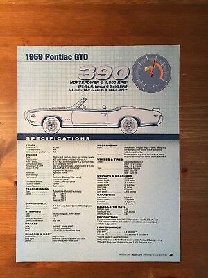 1969 Pontiac Gto Specification Sheet Magazine Ad